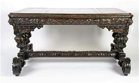 19th C French Oak Carved Desk