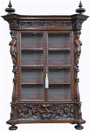 Impressive 19th C Italian Carved Display Cabinet