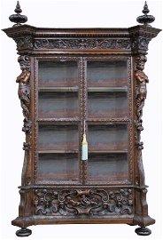 Impressive 19th C Italian Carved Display Cabinet