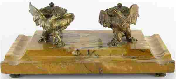 Antique Bronze and Marble Figural Inkwell