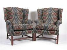Pair of Hickory  White Fireside Chairs