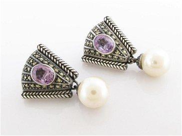 Judith Jack Sterling, Pearl, Amethyst Earrings
