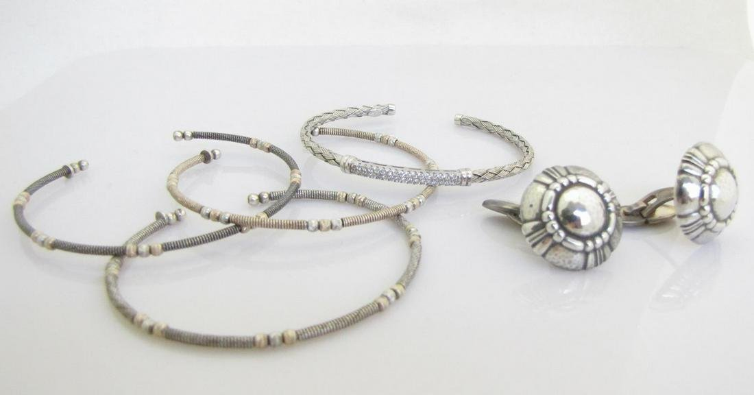 Georg Jensen Cufflinks and Four Cuff Bracelets