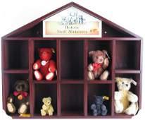 Six Steiff Miniatures in Wall Display