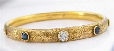 14K Yellow Gold Diamond Sapphire Bangle