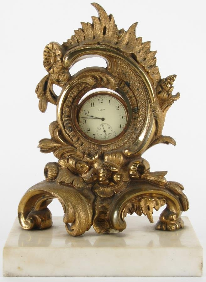 Elgin Model 2 Pocketwatch, Brass and Marble Stand