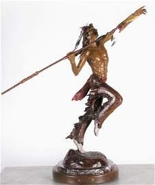 """Elie Hazak 33.5""""h Bronze """"Blackfoot Hunter"""""""