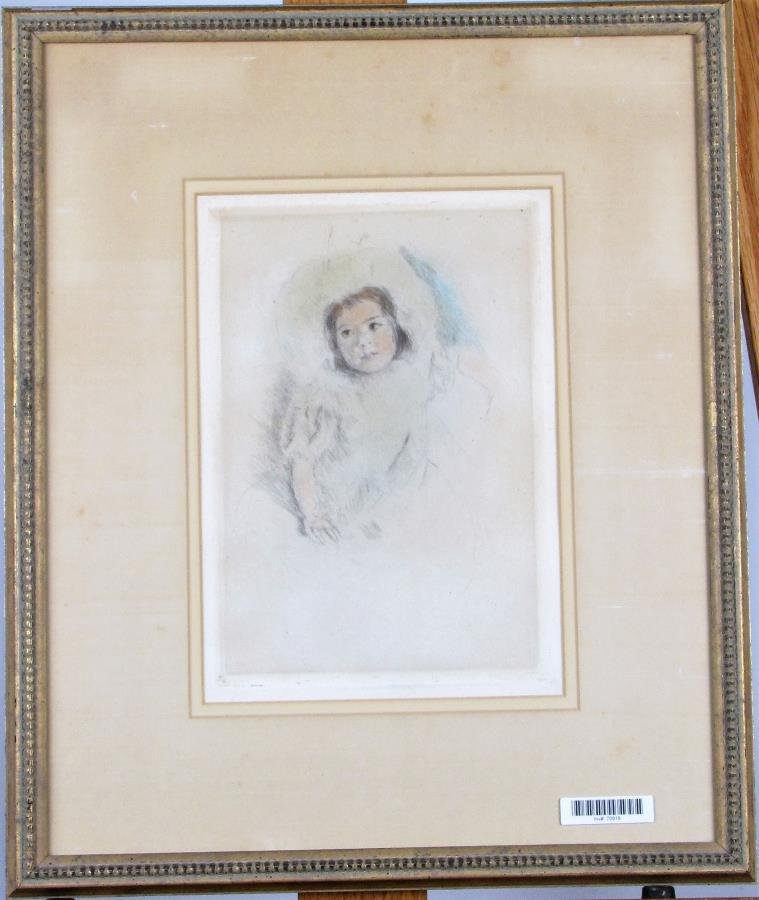 """Mary Cassatt Etching, """"Margot Wearing a Bonnet"""""""