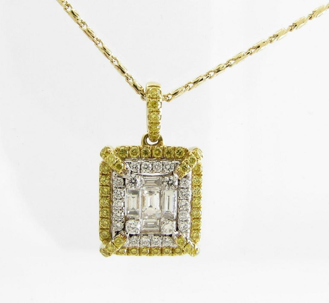 Like New 18K Yellow, White Diamond Pendant, Chain