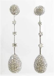 18K White Gold Diamond Drop Estate Earrings