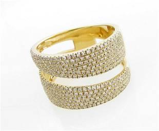 NEW 14K Yellow Gold Pave Diamond Band Ring