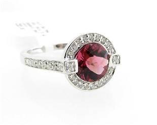 ESTATE Pink Tourmaline Diamond 14K Ring