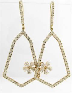 NEW 18K Diamond Bell and Flower Earrings 3CT