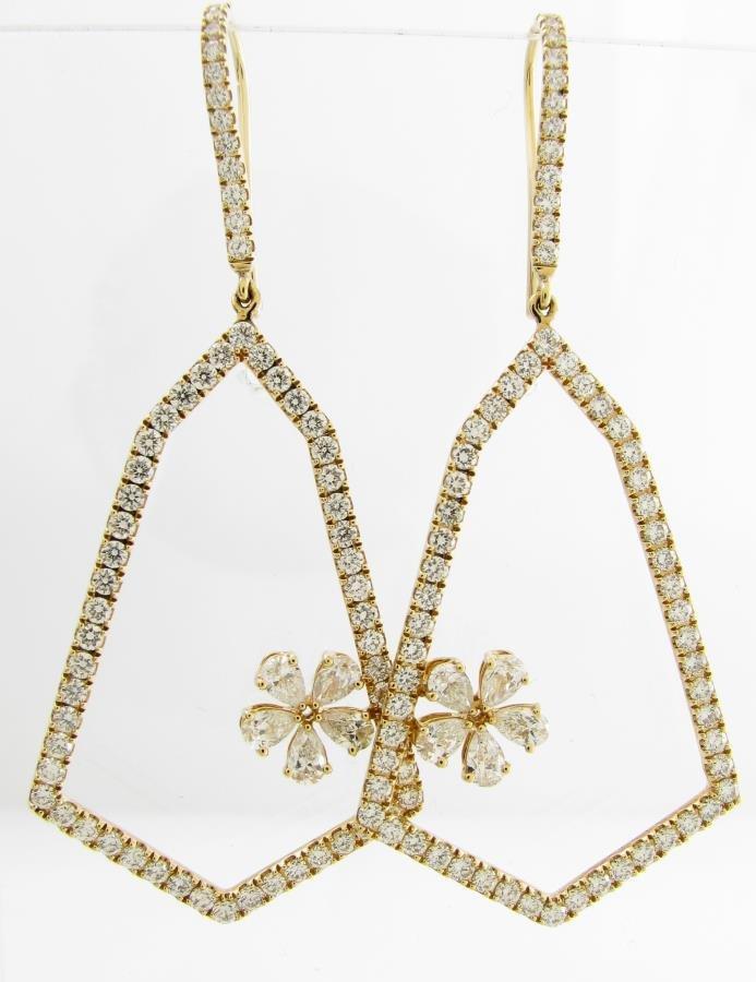 NEW 18K Diamond Bell and Flower Earrings, 3CT+