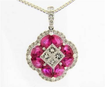 NEW Stunning 18K Ruby & Diamond Flower Pendant