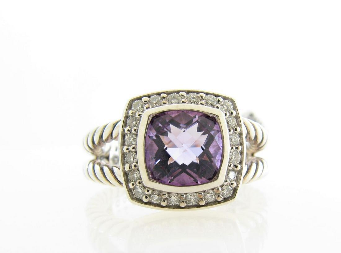 David Yurman Sterling Amethyst, Diamond Ring