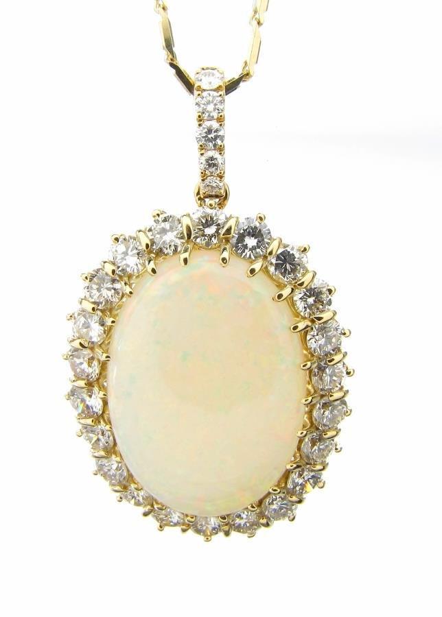 18K Opal, Diamond Estate Pendant