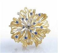 18K Yellow Gold Diamond, Sapphire Starburst Brooch