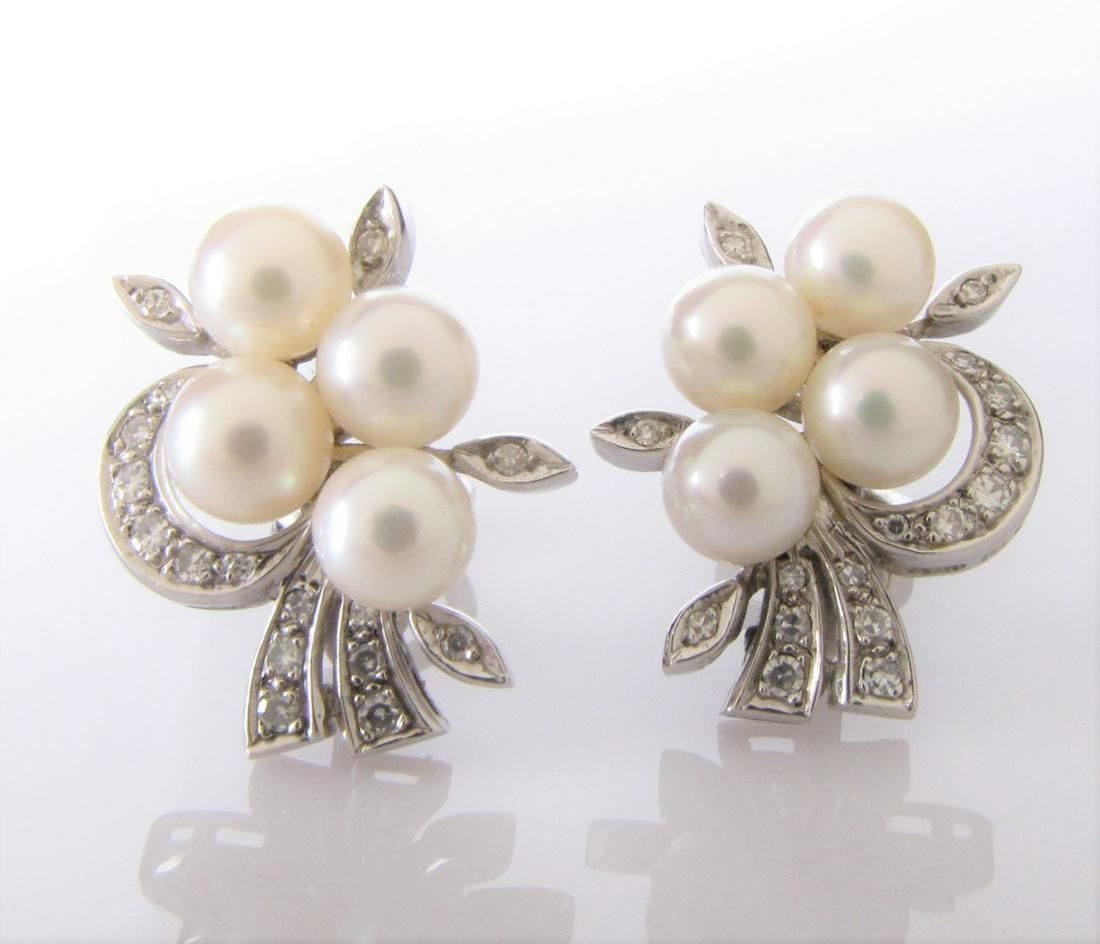 14K White Gold Vintage Diamond and Pearl Earrings