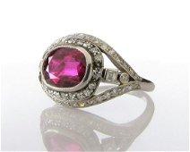 Natural Burma Ruby, Platinum, Diamond Vintage Ring