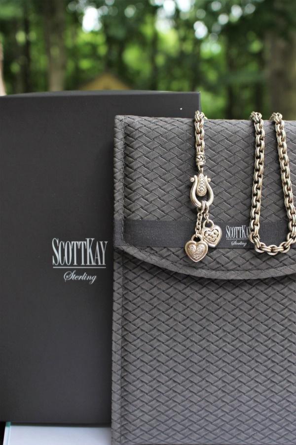 Scott Kay Sterling Silver Diamond Hearts Necklace
