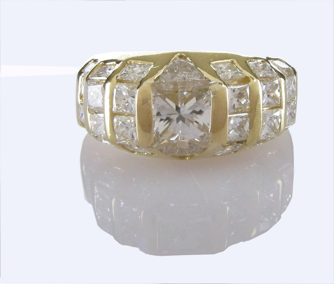 18K Yellow Gold Quadrillion/Radiant Diamond Ring