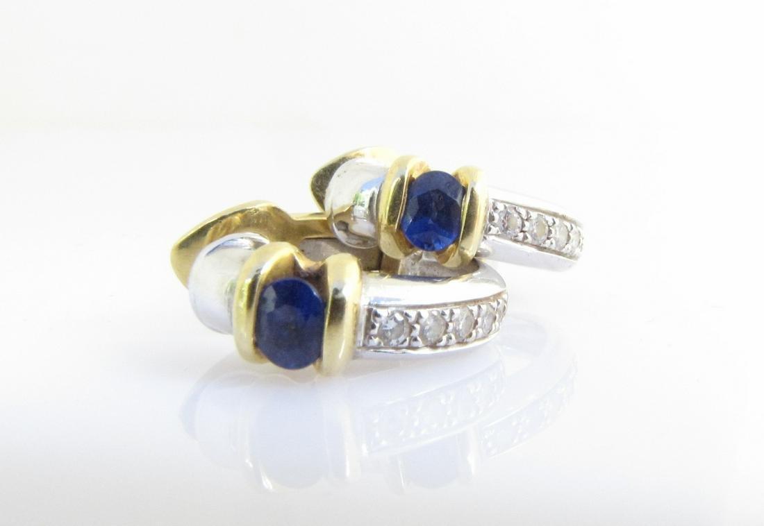 Pair of 18K Sapphire & Diamond Earrings, Spark