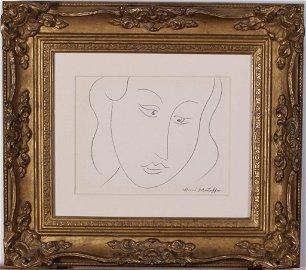 Henri Matisse 9x7.5 Pencil Portrait of a Lady