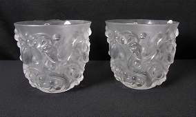 Pair of Lalique Crystal Avalon Cachepots