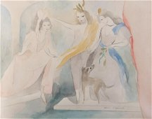 Marie Laurencin 13 x 16.5 Watercolor Three Ladies