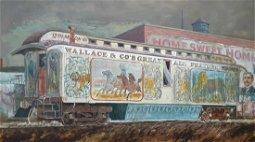 """Robt E Weaver 24x38 Acry//B """"Circus Train"""""""