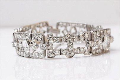 Platinum, Vintage Art Deco 9CT Diamond Bracelet