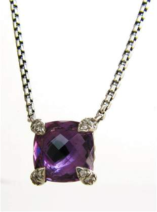 David Yurman Chatelaine Amethyst Pendant Necklace