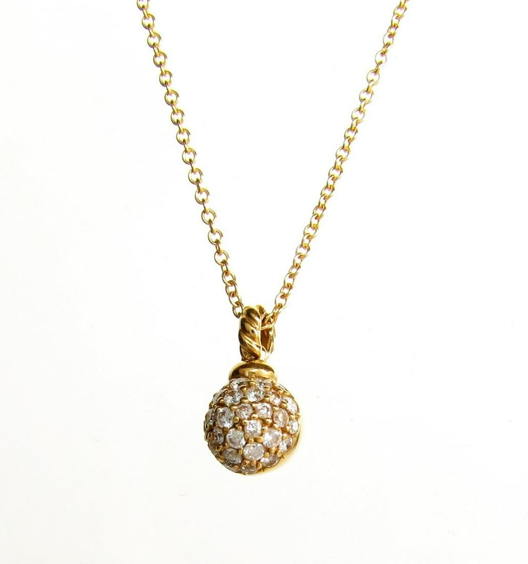 David Yurman Pave Diamond Ball Drop Necklace, 18K
