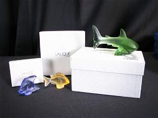 Three, Lalique Crystal Fish Figures