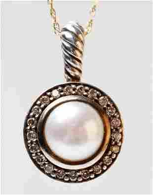 David Yurman Silver Pearl, Diamond Celise Pendant