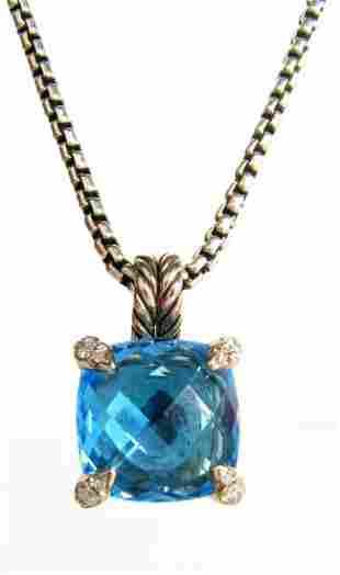 David Yurman Chatelaine Blue Topaz Pendant, Chain