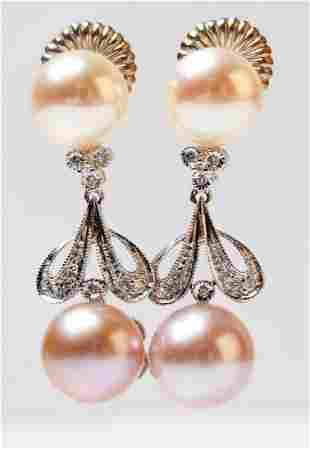 14K White Gold Pearl, Diamond Drop Earrings