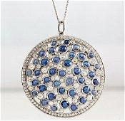 Tiffany Sapphire/Diamond Cobblestone Pendant