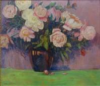 Francis F Brown 24x28 O/B Floral Still Life