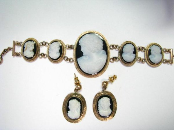1: Antique Cameo Bracelet and Matching Earrings