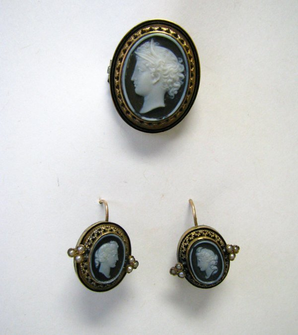 4: Antique Cameo Pin and Matching Earrings