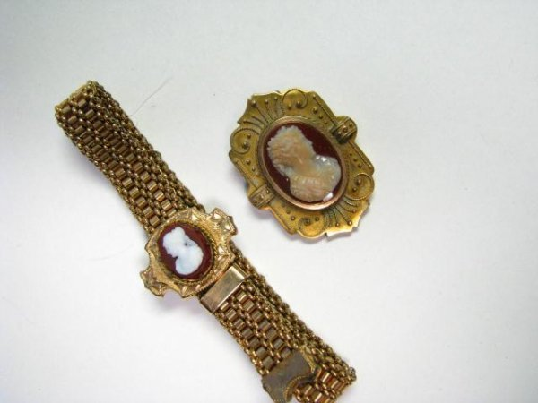6: Antique Cameo Bracelet and Brooch