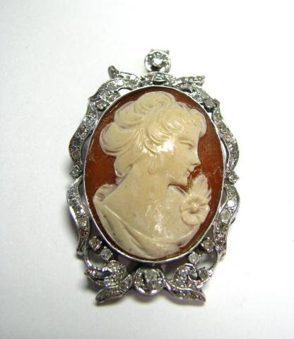 7: 14K White Gold and Diamond Cameo Pin/Pendant