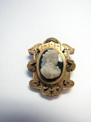 15: Antique Cameo Bar Pin and Brooch