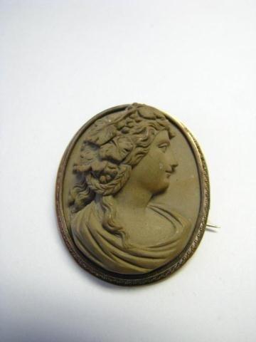 16: Antique Carved Stone Brooch and Bracelet