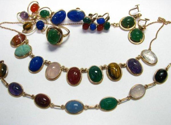 19: Group of 14K Yellow Gold Semi-Precious Gem Jewelry
