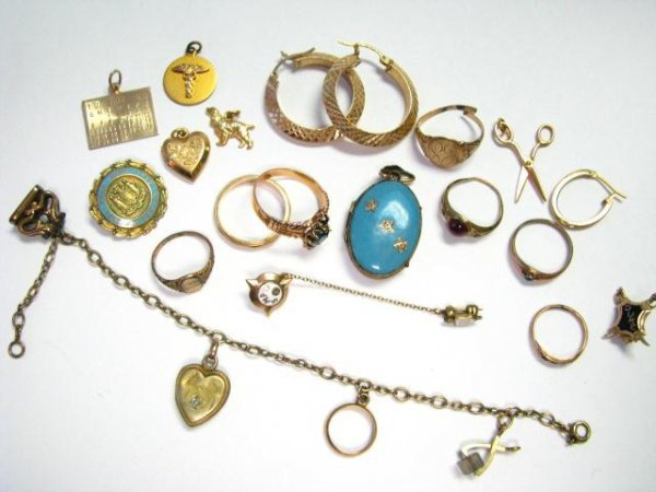 20: Group of Gold Earrings, Rings, Charms, Pins, Gold