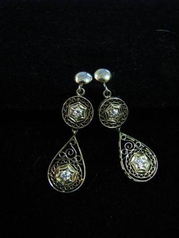 21: Pair 18K White Gold and Diamond Filigree Earrings