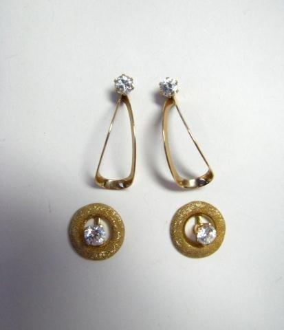 22: Two Pair of 14K Gold Earrings